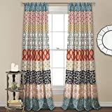 "Lush Decor, Turquoise and Orange Bohemian Stripe Window Curtain Colorful Bold Design Panel Pair, 84"" x 52"" shower panels Nov, 2020"