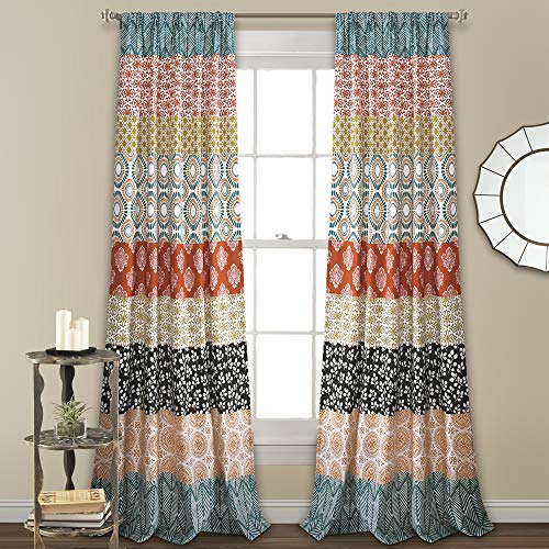 "Lush Decor 16T003316, Turquoise and Orange Lush Decor Bohemian Stripe Window Curtain Colorful Bold Design Panel Pair, 84"" x 52"", 84"" long x 52"" wide"