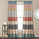 "Lush Décor, Turquoise and Orange Lush Decor Bohemian Stripe Window Curtain Colorful Bold Design Panel Pair, 84"" x 52"""