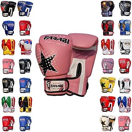 Farabi Boxing Gloves Kids Junior Muay Thai Kick Boxing Training MMA Punching Gloves (Pink Star, 6OZ)