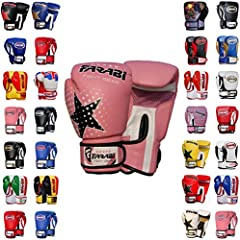 Farabi Boxing Gloves Kids Junior Muay Thai Kick Boxing Training MMA Punching Gloves (Pink Star, 6OZ)
