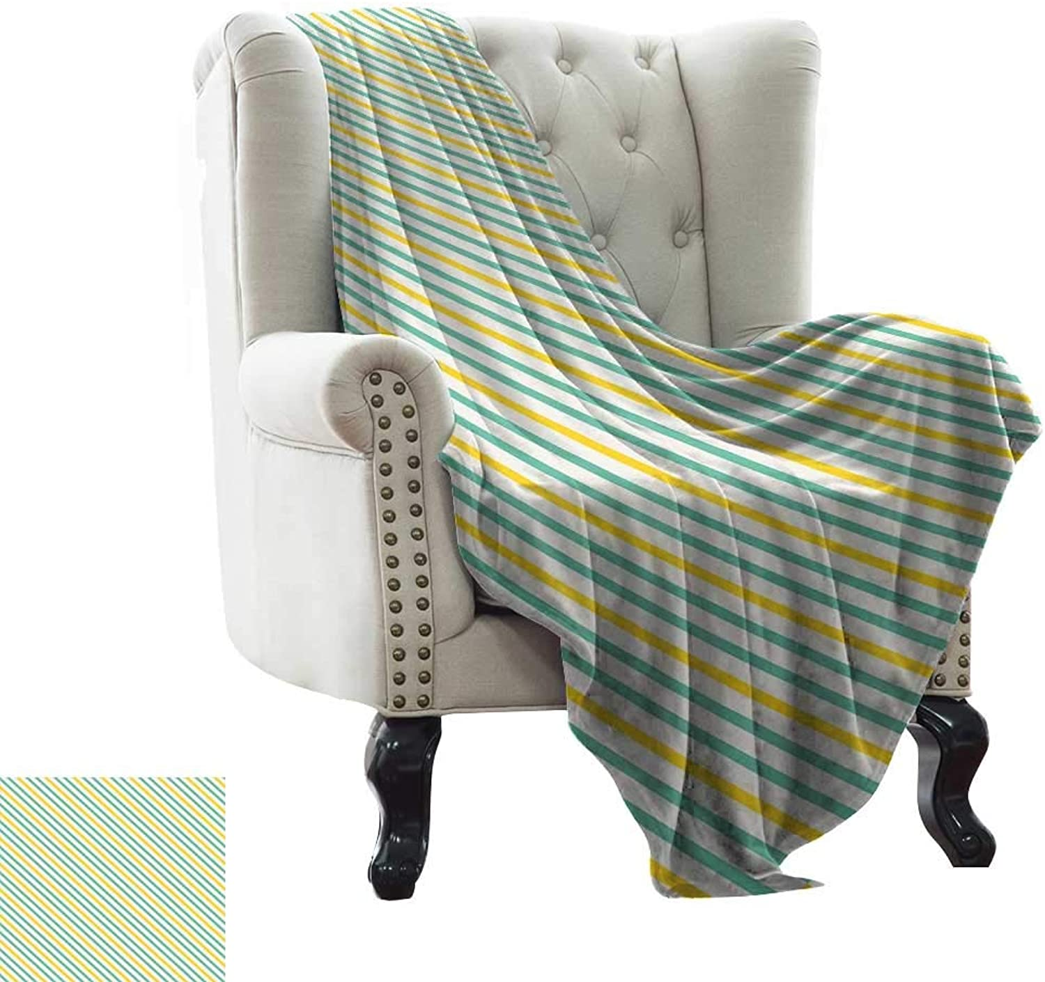 LsWOW Women's Blanket Geometric,Striped Pattern with Tropical Tones Diagonal Stripes Design Abstract,Seafoam Yellow White Soft, Fuzzy, Cozy, Lightweight Blankets 70 x90