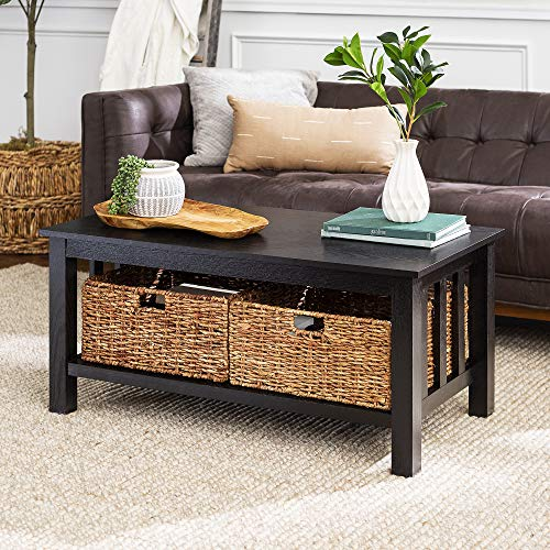 Walker Edison Furniture Company Rustic Wood Rectangle Coffee Accent Table Storage Baskets Living Room, 40 Inch, Black