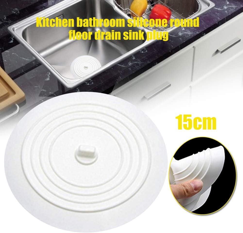 XQxiqi689sy Bouchon de vidange en silicone rond antid/érapant pour /évier de salle de bain ou cuisine Taille unique blanc