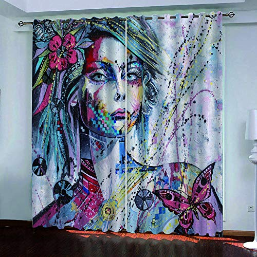AnvvsovsHalloween Hand Drawn Beautiful Woman Window Curtain For Bedroom Thermal Insulated 2Panel Printed Polyester (W) 150X(H) 166Cm -Bedroom Curtains