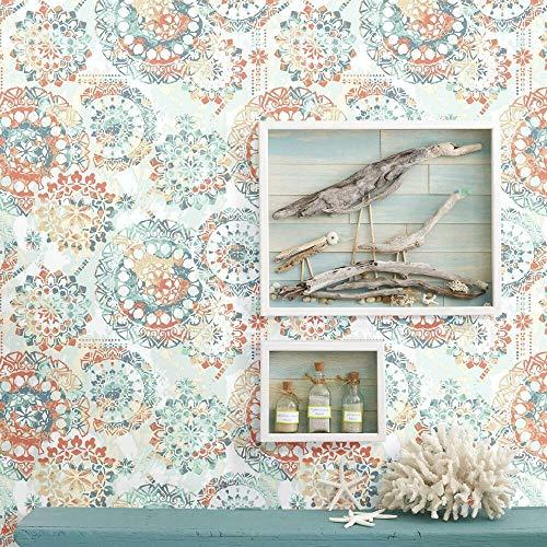 RoomMates RMK9126WP Bohemian Orange/Blue Peel & Stick Wallpaper, 20.5