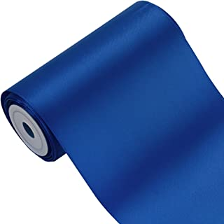 LaRibbons 4 inch Wide Solid Color Double Face Satin Ribbon Great for Chair Sash- 5 Yard/Spool (Royal)