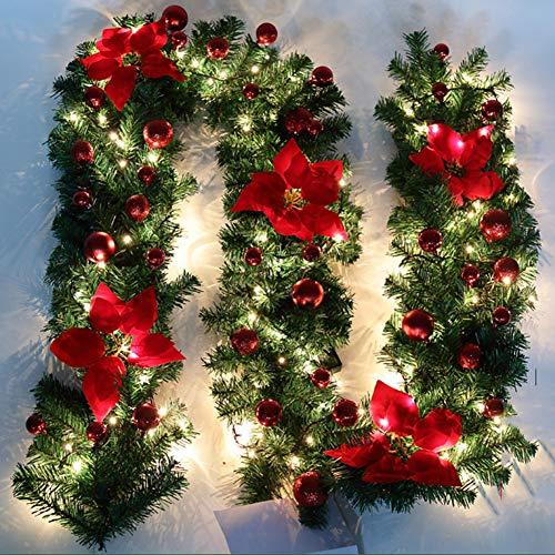 Nulala - Guirnalda decorativa para árbol de Navidad (2,7 m), diseño de guirnalda decorada con luces navideñas, rojo, 2.7M