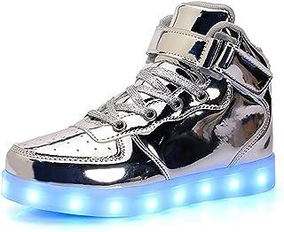 Unisex Niños Zapatillas LED Luminioso para Hombre Mujere con Luces (7 Colores) USB Carga Zapatos de Deporte