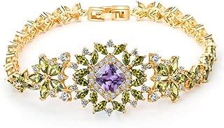 WEIDAN Winter Sonata 18K Multi-Gemstone and Diamond Tennis Bracelet Gold Heart Bracelets