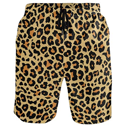 visesunny Retro Leopard 3D Print Graphic Mens Swim Trunks Summer Casual Athletic Swimming Short with Mesh Lining