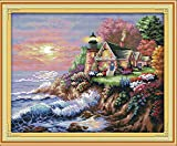 Joy Sunday Cross Stitch Kits 14CT Counted The Seaside Lighthouse I 17.3'x14.2' or 44cmx36cm Easy Patterns Embroidery for Girls Crafts DMC Cross-Stitch Supplies Needlework Scenery Series