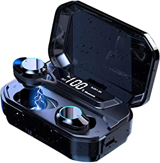 2020 Newest LED Display Bluetooth 5.0 Earphones with 125H Playtime IPX7 Waterproof and 6D Stereo Sound Built-in Mic with 3...