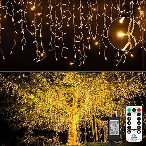 Icicle Lights for Christmas Outdoor, 19.6 Feet 54 Drops with 306 Led, 8 Modes Waterproof Connectable Twinkle Fairy String Light for Thanksgiving Hanging Icicles Decoration Lighting, Warm White