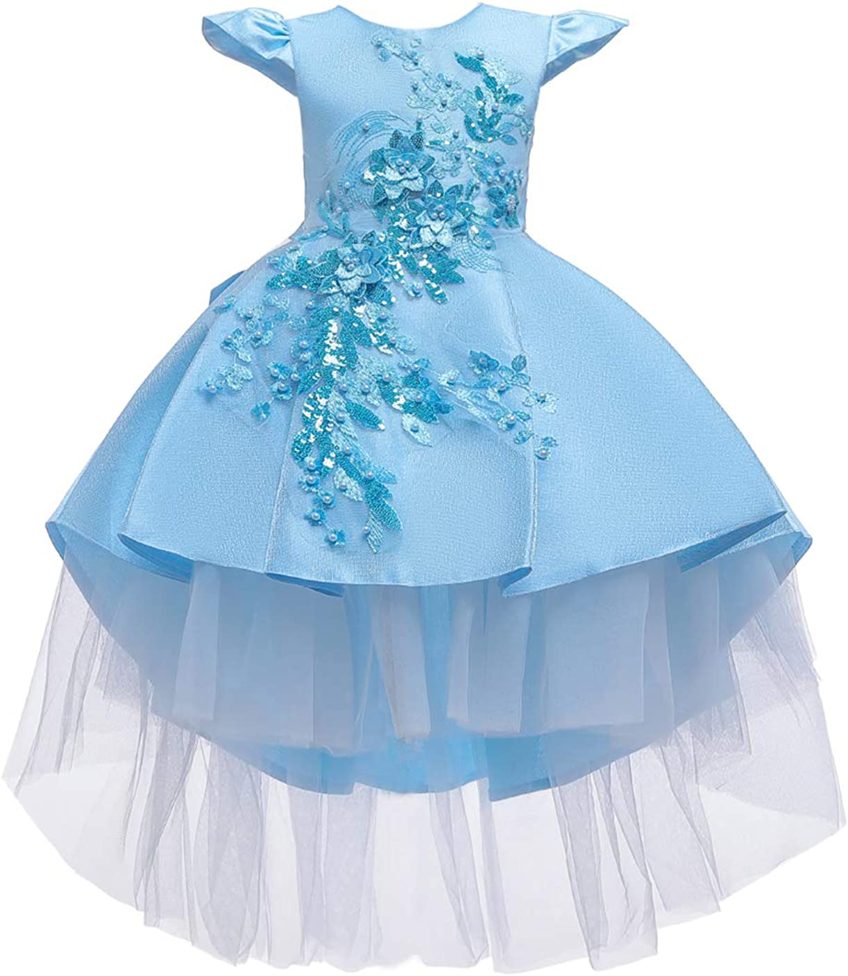 GRASWE Kids Ruffles Lace Party Wedding Dress Girls Pageant Flower Sequin Dress