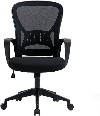 OF TLV-AM-OC32-BLACK Silla de Oficina con Soporte Lumbar, Metal, Negro-Negro, Universal