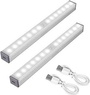 SZMDLX Motion Sensor Closet Lights, Under Cabinet Lights, USB Rechargeable, 14 LED Night Light Bar Portable Wireless Motio...