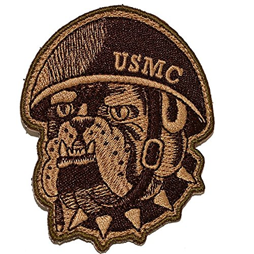 HLK Culpeper Tactical Morale Hook Patches USMC Bulldog Cut-Out (Coyote)