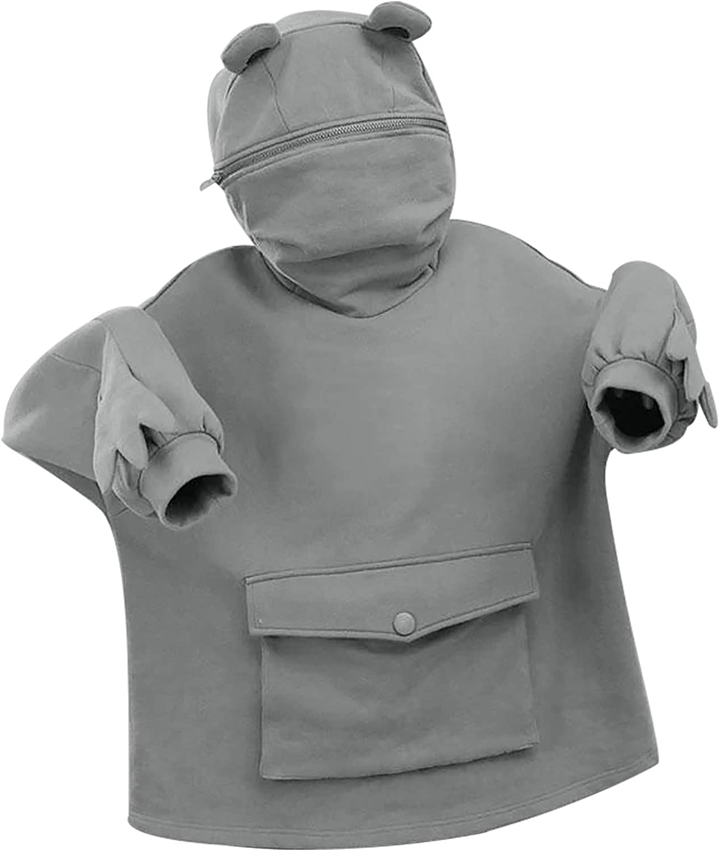 Frog Sweatshirt for Womens Cute Frog Hoodie Novelty Animal Shape Pullover Zip up Hooded Top Sweatshirt with Pocket