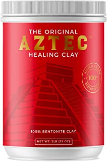 Aztec Healing Clay - 2 LB Pure Sodium Bentonite Powder - Natural Face Mask for Deep Pore Cleansing & Skin Beatification. Perfect for Skin Issue, Blackheads, Acne, Hair Hydration, Cleansing &Bath