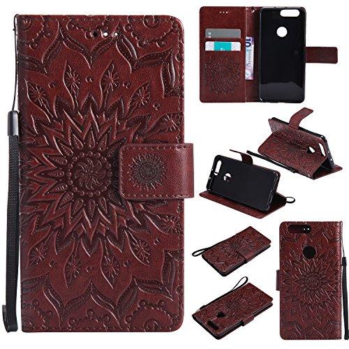 Jeewi Hülle für Huawei Honor 8 Hülle Handyhülle [Standfunktion] [Kartenfach] [Magnetverschluss] Tasche Etui Schutzhülle lederhülle klapphülle für Huawei Honor 8 - JEKT030925 Braun