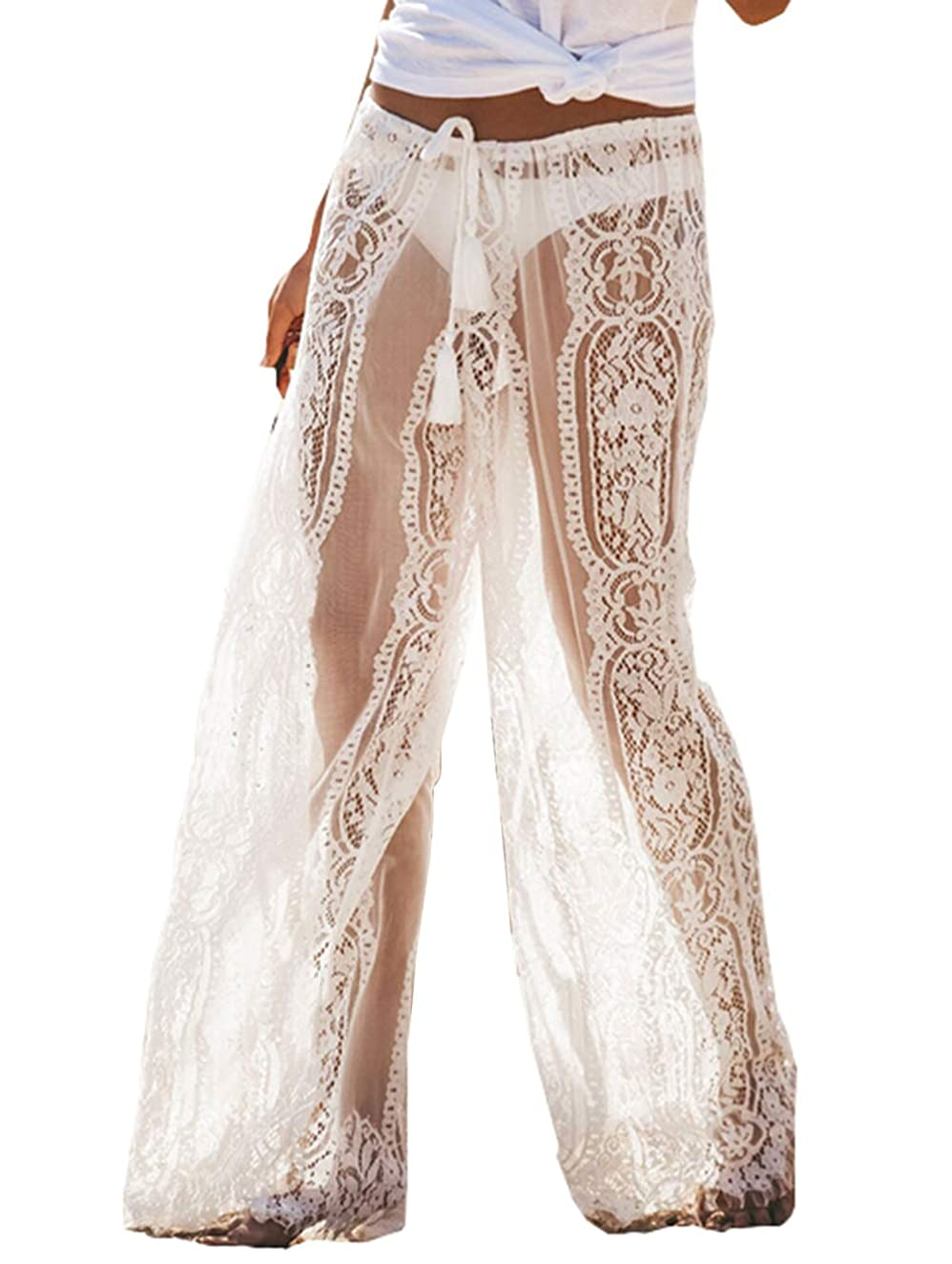 Lioraitiin Womens Crochet Lace Throughout High Waist Loose Pants Beach Bikini Cover Up Swim Trousers