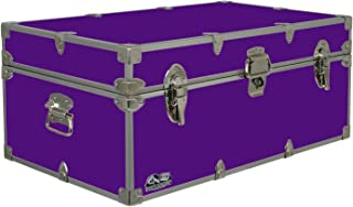 C&N Footlockers Happy Camper Storage Trunk - Summer Camp Chest - Durable with Lid Stay - 32 x 18 x 13.5 Inches (Purple)