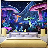 Wekoxo Psychedelic Mushroom Tapestry Starry Sky Tapestry Trippy Wall Tapestry Fantasy Plant Tapestry Wall Hanging for Home Decor (M / 59.1' × 59.1')
