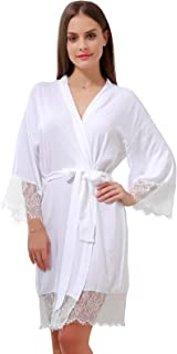 GoldOath Cotton Kimono Robes Lightweight Soft Womens Lace Trim Loungewear