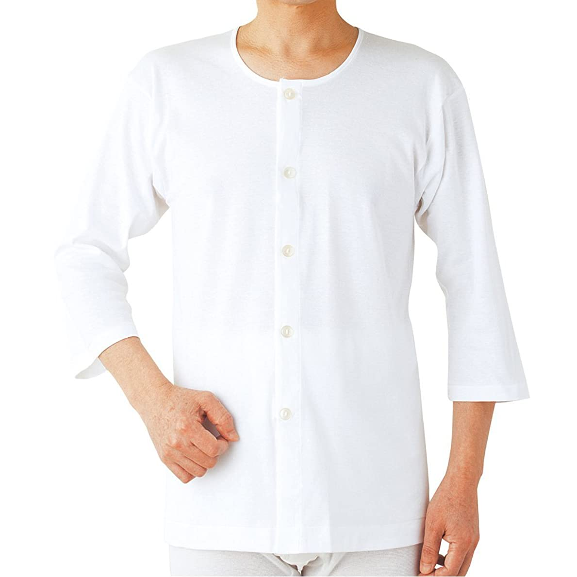 アプローチ聡明道を作るらくらく肌着2枚組(男性用)7分袖ボタン付シャツ ホワイトM