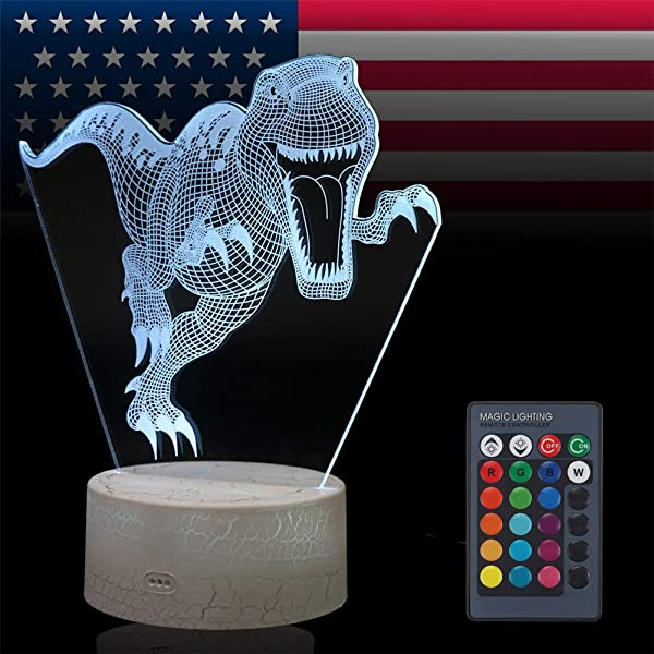 VANSIHO Dinosaur 3D Optical Illusion Night Light 7 LED Color Changing Lamp Christmas Birthday Gift For Kids With Remote Crackle Dinosaur
