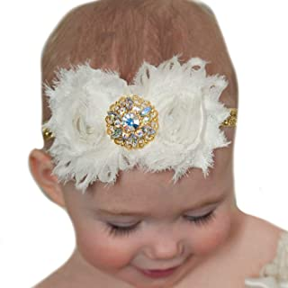 Lebo Baby Girl Gold Headbands with Shabby Chic Bows