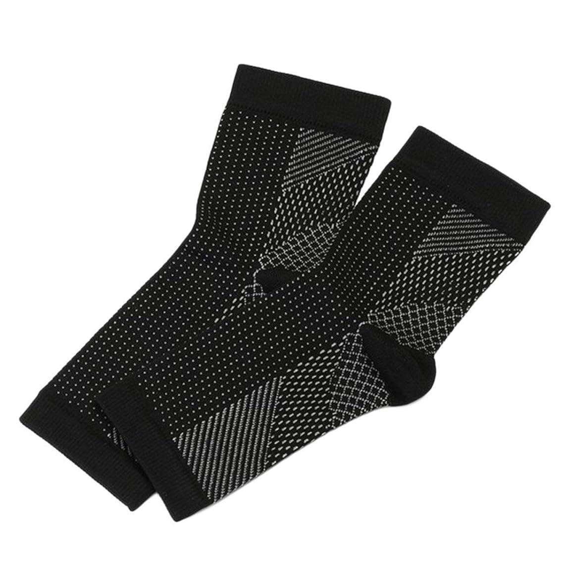 国行進状プロのスポーツフットアングル抗疲労圧縮フットスリーブユニセックス運動ランニングバスケットボール抗疲労靴下 - 黒