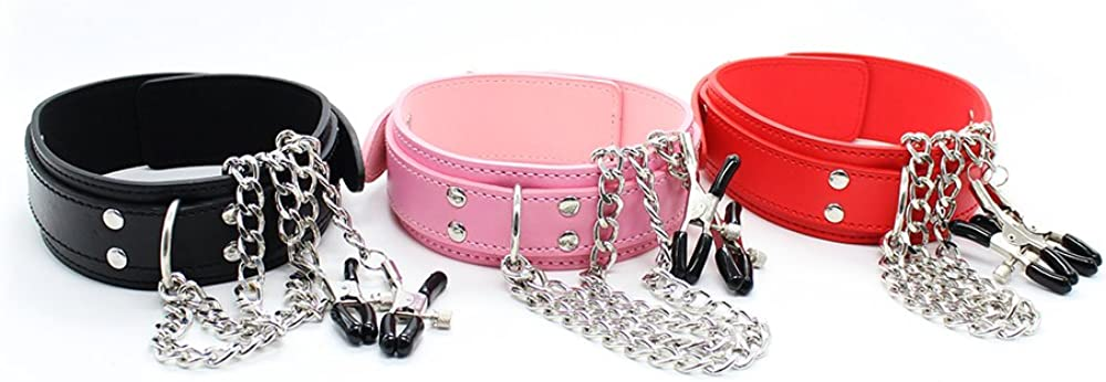 EVEDOUB Women Necklace Collar with Nipple Clamps Necklace Choker with Metal Clips for Womens Non-Piercing Clips Apparel Accessories for Women Girs Ladies