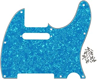 Best IKN 8 Hole Tele Pickguard Front Scratch Plate with Screws Fit USA/Mexican Fender Standard Telecaster Pickguard Replacement,4Ply Light Blue Pearl Review