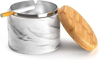 SEA or STAR Cenicero de cerámica con tapa Cenicero para cigarrillos para jardín, Hogar (negro)
