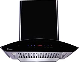 Seavy 60cm 1200 m3/hr Auto Clean Chimney with Free Installation Kit (Ciaz Titanium Black 60, 2 Baffle Filter with SS Oil C...
