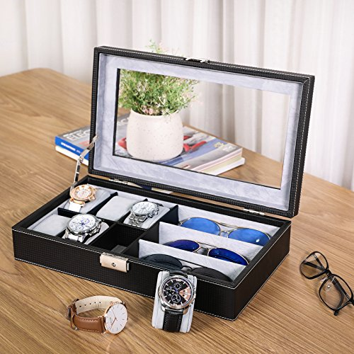 SONGMICS Black 6 Watch Box Jewelry Case Glasses Display Organizer Carbon Fiber Pattern UJWB13B