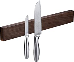 Walnut Magnetic Knife Holder 18 Inch - Wall Mount Wooden Knife Strip, Rack, Bar With Double Row Powerful Magnets, Space-Saving Utensil Organizer