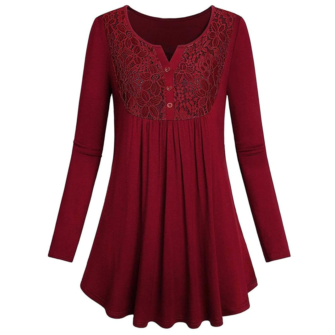 iQKA Women Long Sleeve Solid Lace Splice Henley Shirt Button V-Neck Top Casual Blouse