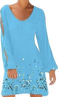 Womens Beach Dresses O-Neck Hollow Out Sleeve Solid Mini Dress Sundress