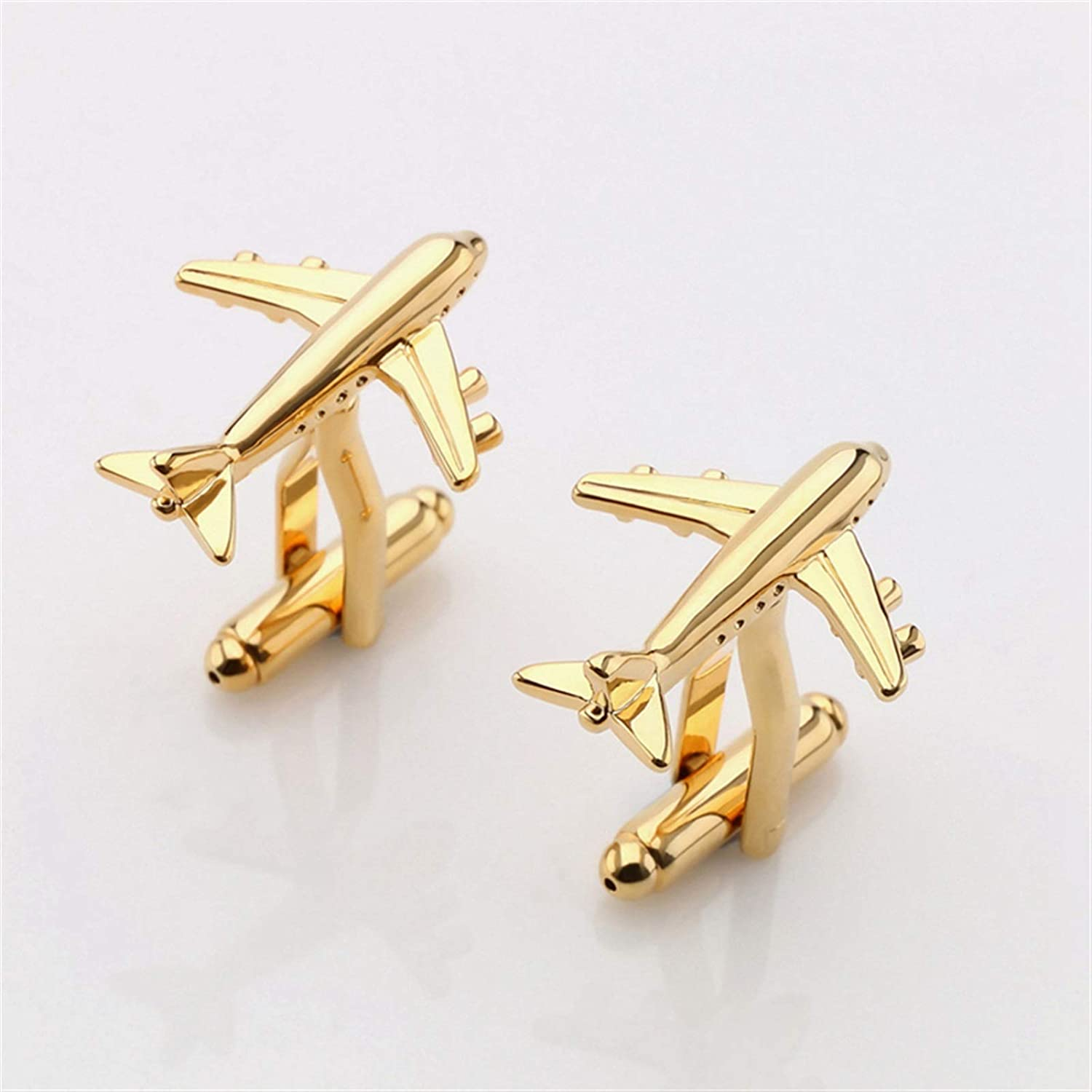 AIHONG Exquisite Real tie Clip Fashion Airplane Shape Cufflinks Men's Lightweight Airplane Design Cufflinks Men's Metal Airplane Cufflinks for Wedding Business Gift (Metal Color : Gold Color)