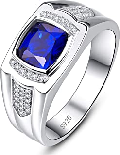 BONLAVIE Men's Engagement Ring 925 Sterling Silver Princess Cut Created Blue Sapphire Pave CZ Wedding Band Size 6-13