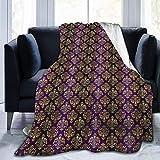 Manta de forro polar ultra suave para adultos con estampado de hojas orientales estilizadas y puntos, manta suave y cómoda para sofá