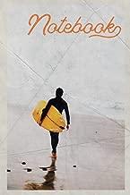 Notebook: Surfboard Surfing Stylish Composition Book Journal Diary for Men, Women, Teen & Kids Vintage Retro Design Sunset Big Wave