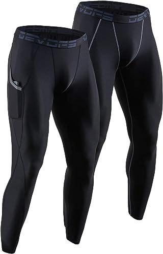 DEVOPS 2 Pack Men's Compression Pants Athletic Leggings with Pocket/Non-Pocket