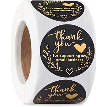 Thank You Stickers Roll for Supporting My Small Business 1.5 Inch for Boutique Supplies Packaging Bubble Mailers Bags Decorative Sealing Labels Gold Foil - 500 Stickers (1 Roll)