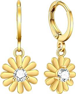Details about  /14k Yellow Gold Round Rose Dangle Drop Large Open Hanging Earrings Flower Leaf