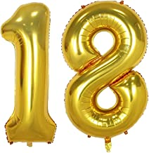 40inch Gold Number 18 Balloon Party Festival Decorations Birthday Anniversary Jumbo foil Helium Balloons Party Supplies use Them as Props for Photos (40inch Gold Number 18)
