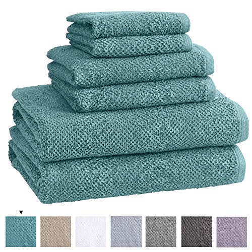 100% Cotton Bath Towels, Luxury 6 Piece Set - 2 Bath Towels, 2 Hand Towels and 2 Washcloths. Quick-Dry, Absorbent Textured Popcorn Weave Towels. Acacia Collection (6 Piece Set, Mineral Blue)